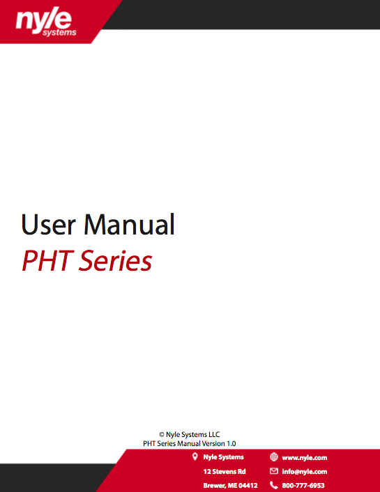 PHT Series Manual